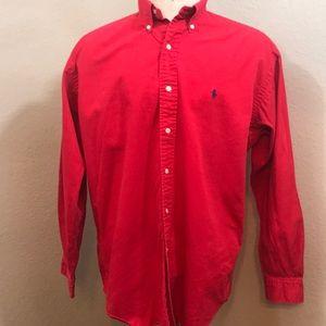 Ralph Lauren red cotton button down shirt med